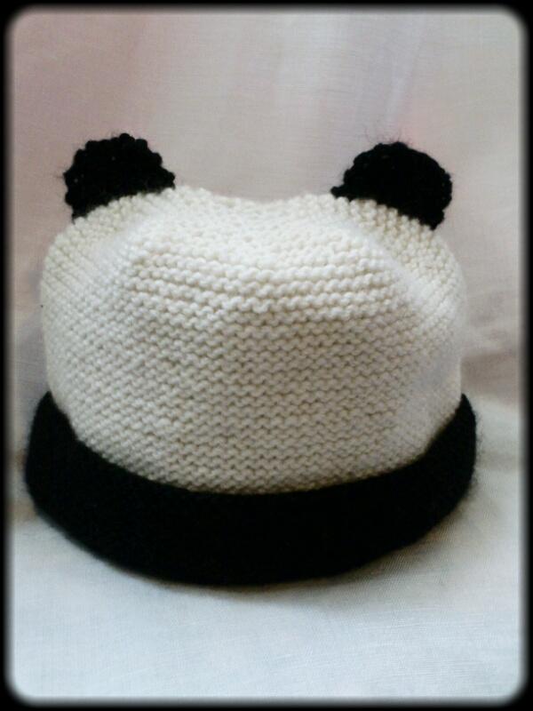 Knitting Pattern For Panda Hat : Hand Knitted Panda Hat on Luulla